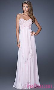Buy Flowing Floor Length Strapless Sweetheart Dress at PromGirl
