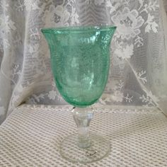 Aqua Green Crackle Glass Goblet Hand Blown by VisualaromasVintage