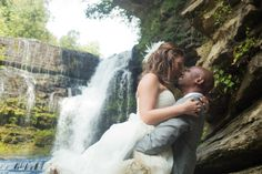 Rock the dress - Cummins Falls, Cookeville, TN. Waterfall trash the dress session, Bride & groom, couple portrait by Ashley Lodge Photography, Destination Wedding Photographer #ALBrides #AshLodgeAart