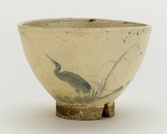 Odo ware tea bowl with design of heron and reeds. 18th-19th century.