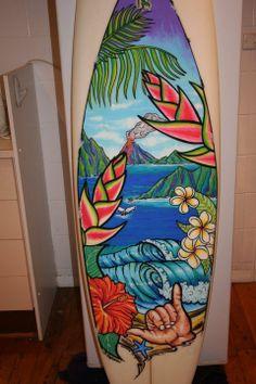 Posca - Hawaii scene on old board | photo and artwork by Denise Stepenson