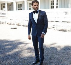 Navy Blue Wedding Best Man Suit Groom Tuxedos Shawl Lapel Dinner Party Prom Suit