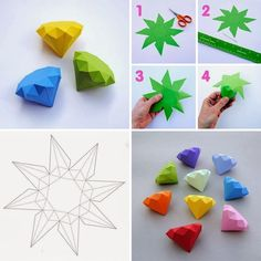 DIY - Diamonds - basteln - The Dallas Media Paper Crafts Origami, Easy Paper Crafts, Diy Arts And Crafts, Origami Paper, Diy Paper, Paper Art, Crafts For Kids, Paper Diamond, Papier Diy