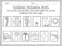 Holiday Syllable Sort (1, 2 & 3 syllable words)