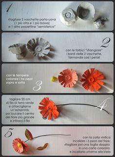TUTORIAL Reuse project: How to transform egg boxes into beautiful flowers / progetto di riuso creativo: Come trasformare i cartoni delle uova in un bellissimo mazzo di fiori