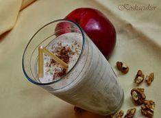 Koskacukor: Almás-fahéjas smoothie dióval Latte, Smoothies, Muffin, Pudding, Vegetables, Food, Smoothie, Custard Pudding, Essen
