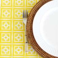 Marrakech Yellow 180 x 300 - Bright, sunny table setting by The Brown Trading Co!