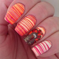 Get ready for Thanksgiving! Fancy Nails, Gold Nails, Pink Nails, Holiday Nail Art, Fall Nail Art, Diy Manicure, Pedicure Nails, Shellac Nail Designs, Nail Art Designs