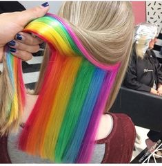 Shared by FESHFEN Hair. Find images and videos about hair, beauty and colors on We Heart It - the app to get lost in what you love. Hidden Hair Color, Cool Hair Color, Hidden Rainbow Hair, Color Fantasia, Peekaboo Hair, Creative Hair Color, Underlights Hair, Hair Streaks, Hair Dye Colors