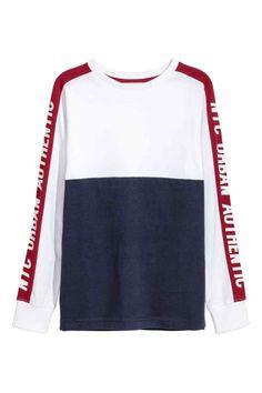 Color-block Jersey Shirt - White/dark blue - Kids | H&M CA
