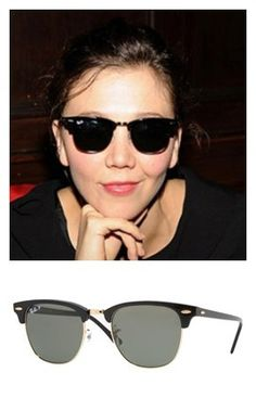 What sunglasses does MAGGIE GYLLENHAAL wear  Maggie Gyllenhaal is rockin  a  pair of Ray Ban Clubmaster sunglasses, these shades go along with her  funky, ... ef882fa6dc4a