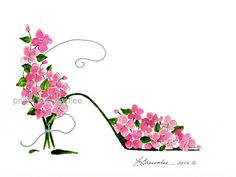 Impatiens #3 Flower Shoe Print - On Watercolor paper, enhanced with paint and signed.