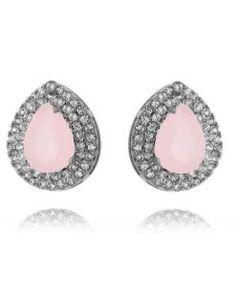 brincos gotinha com zirconia quartzo rosa e cristais e banho de rodio negro acessórios da moda