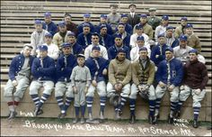1912 Brooklyn Dodgers at Spring training (Don Stokes Old-Time Baseball Colorizations)