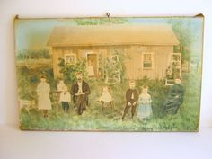 Antique Tinted Photograph on Canvas Family by RollingHillsVintage, $65.00