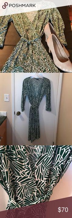 Green/white BCBG Max Azaria wrap dress. Elegant BCBG wrap dress.  Machine wash!! BCBGMaxAzria Dresses Long Sleeve
