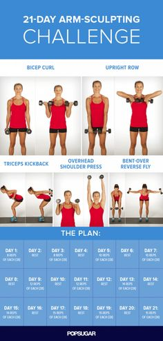 21-Day Arm-Sculpting Challenge | 14 Best Fitness Workouts for Head to Toe Toning, check it out at http://makeuptutorials.com/best-fitness-workouts-makeup-tutorials