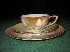 R s Germany Floral w Gold Trim Tea Cup Saucer Dessert Salad Plate Trio Set | eBay
