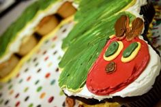 Very Hungry Caterpillar Cupcakes.  I didn't use nearly as much frosting.