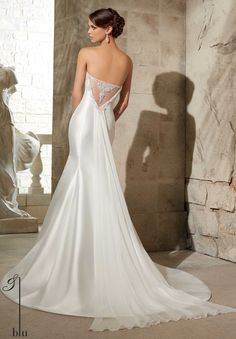 5304 Wedding Gowns / Dresses Larissa Satin with Intricately Beaded Embroidery and Flyaway Chiffon Train