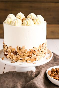 This Almond Amaretto Cake is a must for any almond lover! Almond cake layers infused with Amaretto liqueur paired with a classic vanilla buttercream. Pound Cake Recipes, Cupcake Recipes, Cupcake Cakes, Dessert Recipes, Almond Joy Cake, Almond Cakes, Amaretto Cake, Liquor Cake, Sweet Cakes