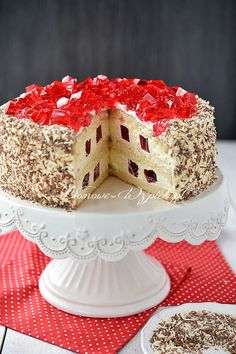 Tort śmietankowy z galaretką Sweets Cake, Polish Recipes, Cream Cake, Confectionery, Vanilla Cake, Good Food, Food And Drink, Cooking Recipes, Cookies