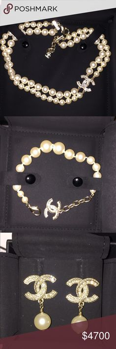 💯Set😍Chanel Classic earrings, necklace, bracelet A set. I Purchased separately. 2016. More pics coming. 😍😍😍 necklace is a choker double strand faux pearl. Stunning. 😍😍😍😍😍 gold and white pearl colored. No stones missing. Authentic. Comes with their boxes and velvet covers. CHANEL Jewelry Necklaces