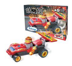 0615.4 - Supercarro Speed | Carrinho de blocos de montar com fricção. Contém 40 peças. | Faixa Etária: +6 anos | Medidas: 14,5 x 4 x 9,5 cm | Jogos e Brinquedos | Xalingo Brinquedos | Crianças