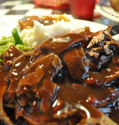 Recipe for Hot Open Faced Roast Beef Sandwich - Good way to use leftover pot roast beef and gravy!
