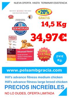 Oferta Hill's Science Plan Canine Advanced Fitness Adult y Adult Large Breed Pollo 12 kg + 2,5 gratis 14,5 kg por solo 34,97€