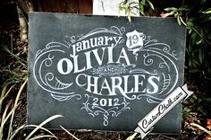 Love the design on this pretty custom chalkboard by Custom Chalk