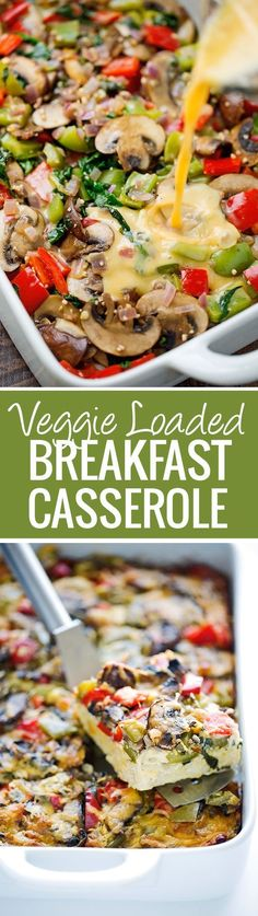 Veggie Loaded Breakfast Casserole - made with hash browns and all your favorite veggies! Add in rotisserie chicken, crumbled sausage or anything else you please - it's totally customizable! Gotta love this breakfast casserole recipe! Veggie Breakfast Casserole, Breakfast Desayunos, Breakfast Dishes, Breakfast Recipes, Breakfast Ideas, Breakfast Burritos, Breakfast Healthy, Breakfast Potatoes, Breakfast Quotes