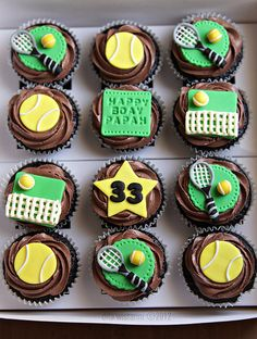 """tennis cupcakes. @laure1208  these are super cute. maybe a """"31"""" instead of a """"33"""" and a piece of fondant that says """"US OPEN"""""""