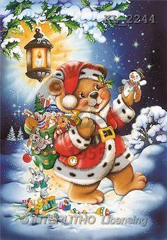 Interlitho, Michele, CHRISTMAS ANIMALS, paintings, bear, toys, lantern(KL2244,#XA#) Weihnachten, Navidad, illustrations, pinturas