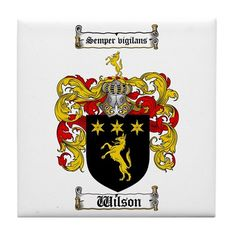 Wilson Coat of Arms Family Crest Tile Coaster on CafePress.com