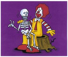 "Art director Rich Seidelman's storyboard drawing for the end segment of a Happy Meal Halloween Pail commercial.  ""Did Somebody Say McDonald's?"" 1997. Ronald McDonald. Skeleton. Halloween. McDonaldland. Storyboard Drawing, Art Director, Ronald Mcdonald, Skeleton, Meals, Commercial, Power Supply Meals, Meal, Skeletons"