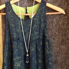 Sheer Black With Green Lining Babydoll Dress