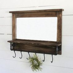 Industrial Wood Mirror With Hooks Arched Window Mirror, Entry Mirror, Funky Mirrors, Cool Mirrors, Industrial Mirrors, Rustic Mirrors, Farmhouse Mirrors, Antique Farmhouse, Rustic Window Frame