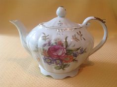 "Vintage Ceramic Musical Teapot With Colorful Flowers Gold Trim ""Tea For Two"""