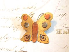 Vintage Jewelry Brass Copper Butterfly Brooch by OodlesofBling  #vogueteam #etsygift