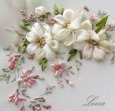 Wonderful Ribbon Embroidery Flowers by Hand Ideas. Enchanting Ribbon Embroidery Flowers by Hand Ideas. Embroidery Designs, Ribbon Embroidery Tutorial, Silk Ribbon Embroidery, Beaded Embroidery, Cross Stitch Embroidery, Hand Embroidery, Embroidery Supplies, Flower Embroidery, Machine Embroidery