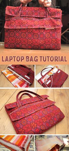 Sew a laptop case. How to sew laptop bag - sewing pattern and tutorial Coin Purse Tutorial, Zipper Pouch Tutorial, Laptop Bag For Women, Backpack For Teens, Wallet Pattern, Tote Pattern, Pattern Fabric, Diy Bags Purses, Purses And Handbags