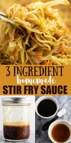 The BEST stir fry sauce!!! 3 ingredient homemade stir fry sauce recipe. The easiest fool proof sauce that's ready in seconds. Perfect for thick stir fry sauce in less than 5 minutes! Stir Fry Recipes, Sauce Recipes, Cooking Recipes, Cooking Tips, Great Recipes, Dinner Recipes, Favorite Recipes, Recipe Ideas, Chutneys