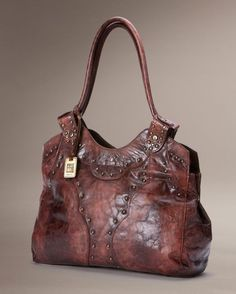Frye Vintage Stud Shoulder Bag Burnt Red 86