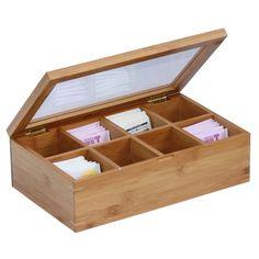 Tea Box Storage Chest Wooden Organizer Kitchen Bags Home Compartments Display #Oceanstar