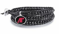 Austin Peay Governors jewelry and leather wrap bracelet is made with a 2 strand braided leather strap straddling a row of 4mm black onyx beads and our solid sterling silver enameled charm. $99