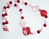 Red Pink and White Glass Leaf and Pearl Necklace Jewellery