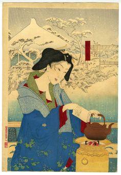 月岡芳年 Tsukioka Yoshitoshi (1839 - 1892)  Winter: The Daishoro flower garden in…