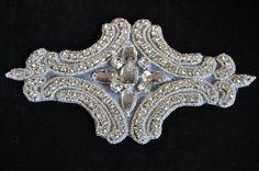 Rhinestone Applique, Bridal Applique,  Wedding Applique, Sash Applique, bouquet handle,  Crystal trim, rhinestone trim - WRA-003