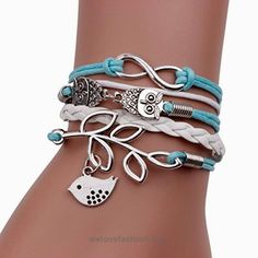 Bestpriceam Handmade Infinity Silver 8 Owl Leaf Bird Leather Bracelet Wristband  BUY NOW     $0.79    1PC Vintage Handmade Infinity Silver 8 Owl Leaf Bird Leather Bracelet Wristband (without retail package)Material:Alloy,Rope Leather Size:17CMX2CM(LXW) Brand new and hi ..